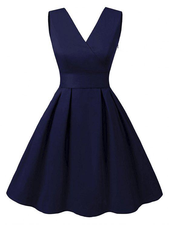 قطع V فستان كلاسيكي الرقبة - الأرجواني الأزرق M