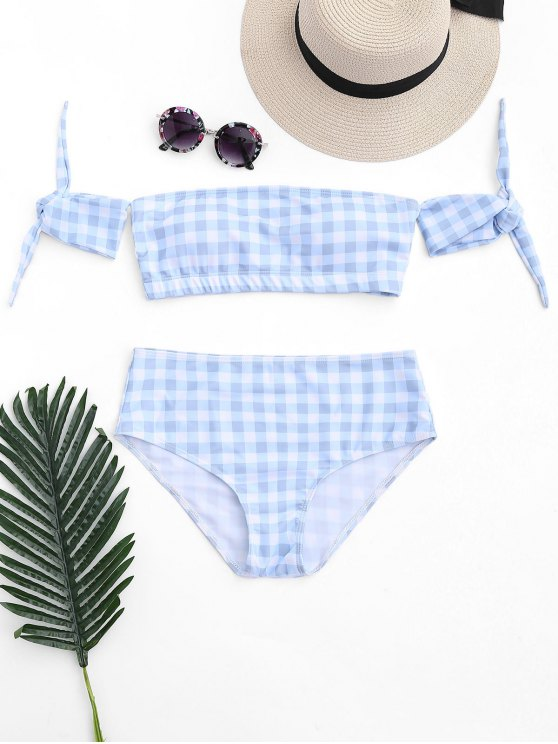 outfit Off Shoulder Checked High Waisted Bikini - BLUE AND WHITE M