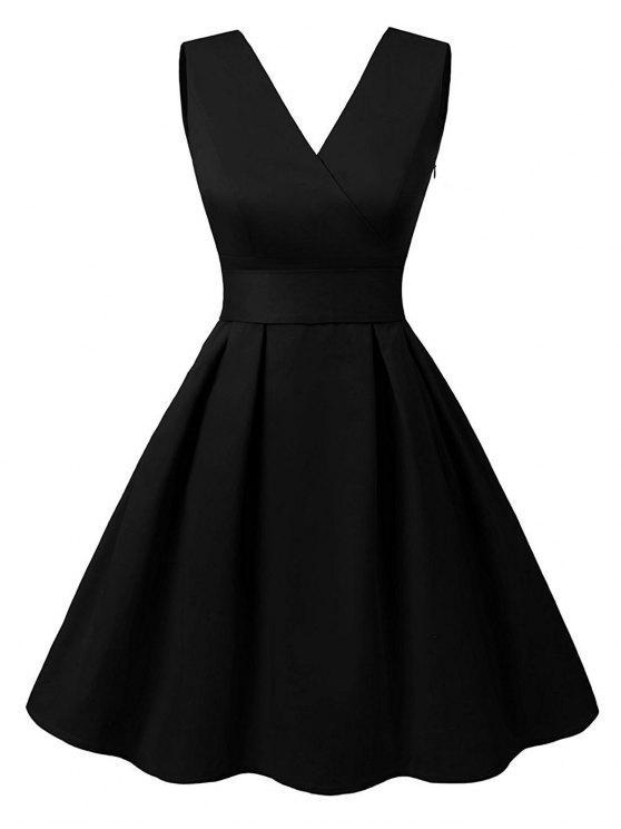 قطع V فستان كلاسيكي الرقبة - أسود L