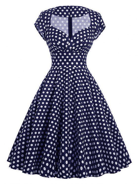 فستان كلاسيكي البولكا نقطة سوينغ - الأرجواني الأزرق XL