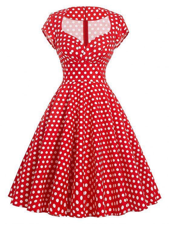 فستان كلاسيكي البولكا نقطة سوينغ - أحمر L