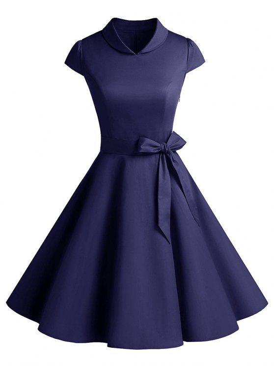 فستان كلاسيكي حفلة سوينغ - الأرجواني الأزرق L