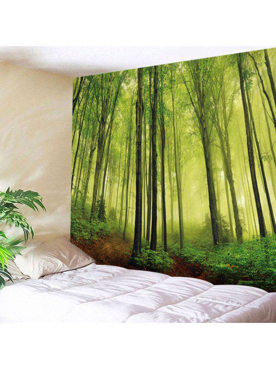 الجدار شنقا فن الضباب الغابات طباعة نسيج - أخضر W79 بوصة * L59 بوصة