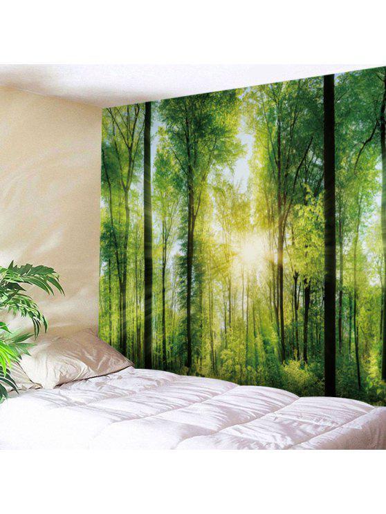 ضوء الشمس الغابات طباعة نسيج الجدار شنقا - أخضر W59 بوصة * L59 بوصة