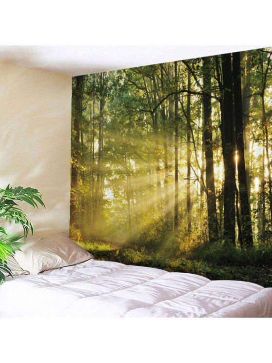 الغابة، أضاء، طباعة، نسيج، الجدار، تعليق الصور - أخضر W79 بوصة * L59 بوصة