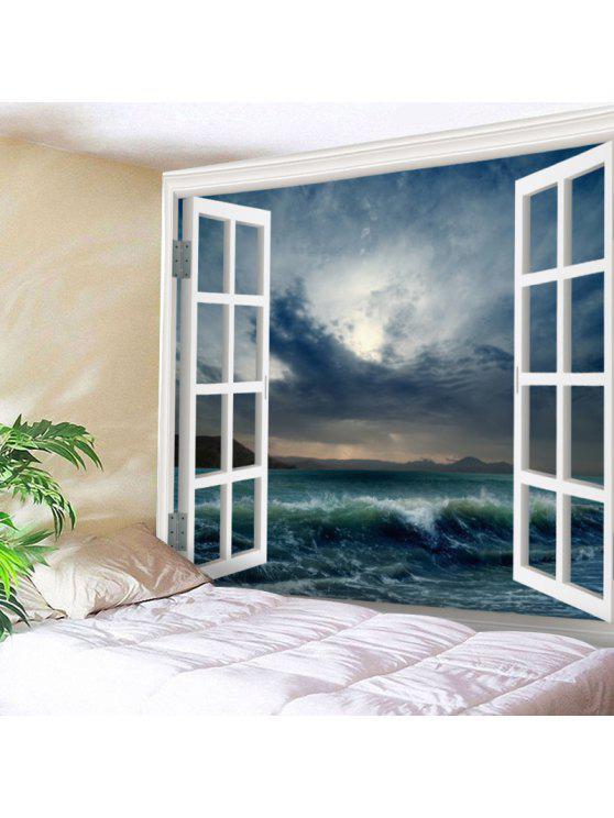 الجدار شنقا الفن ديكور نافذة البحر موجة الطباعة نسيج - سيريلين W59 بوصة * L59 بوصة