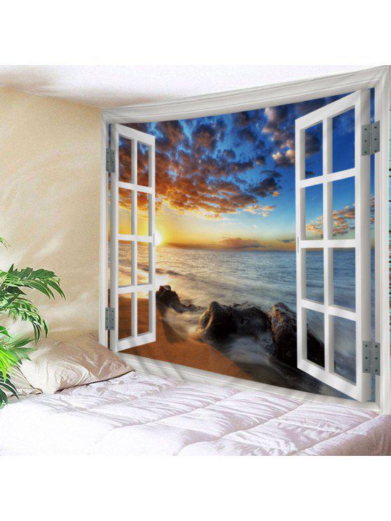 الجدار شنقا الفن ديكور نافذة البحر الغروب طباعة نسيج - أبيض W79 بوصة * L59 بوصة