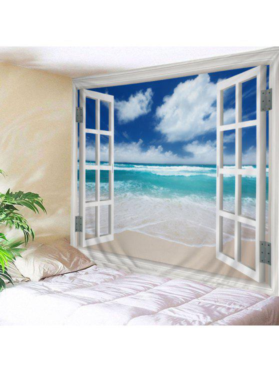 الجدار شنقا الفن ديكور نافذة الشاطئ طباعة نسيج - البحيرة الزرقاء W79 بوصة * L59 بوصة