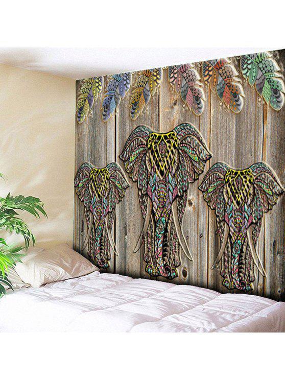 الخشب الحبوب الفيل طباعة الجدار شنقا نسيج - الخشب اللون W59 بوصة * L51 بوصة
