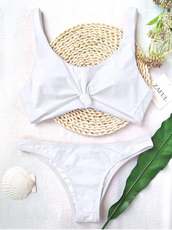 women Knotted Scoop High Cut Bathing Suit - WHITE M