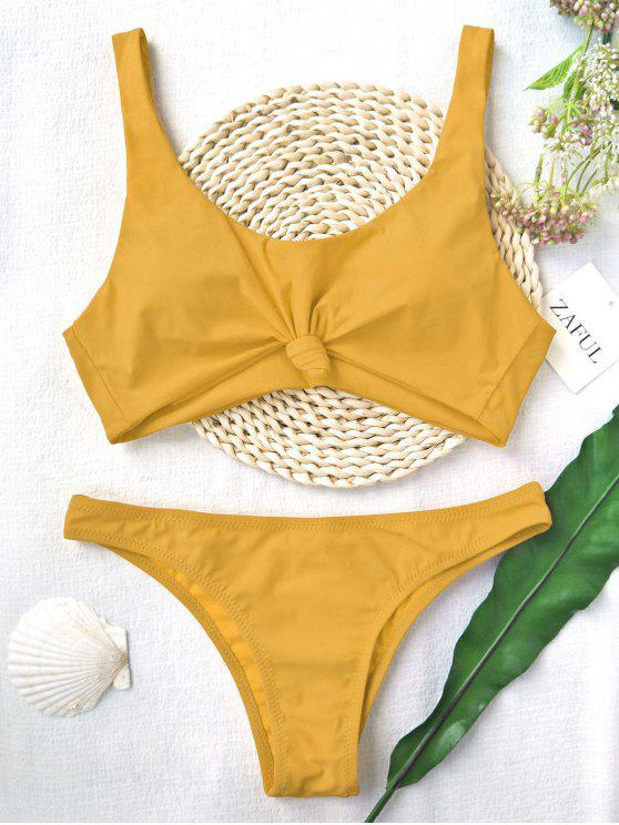 online Knotted Scoop High Cut Bathing Suit - GINGER M