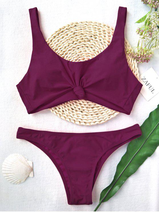 latest Knotted Scoop High Cut Bathing Suit - PURPLISH RED S