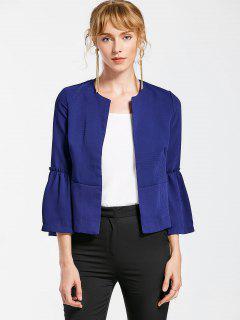 Flare Sleeve Open Front Jacket - Cerulean M