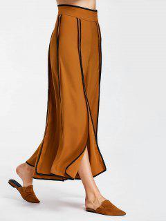Striped Slit High Waist Pants - Burnt Orange M