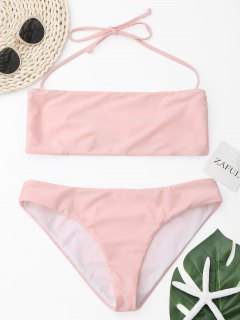 Ensemble De Bikini Bicolore Halter - Rose PÂle S
