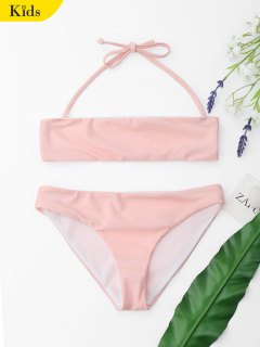 Ensemble Bikini à Col Halter Pour Enfant - Rose PÂle 8t