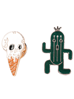 Cactus Skull Ice Cream Brooch Set - Green