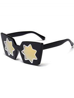 Star Geometric Frame Mirror Reflective Sunglasses - Golden