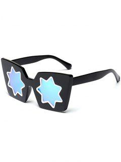 Star Geometric Frame Mirror Reflective Sunglasses - Blue