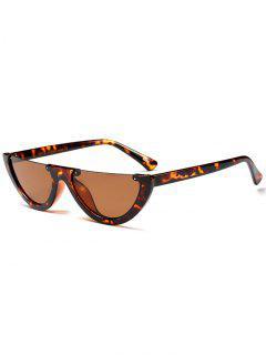 Semilunar Semi-Rimless Sunglasses - Black Leopard Print