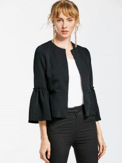Flare Sleeve Open Front Jacket - Black L
