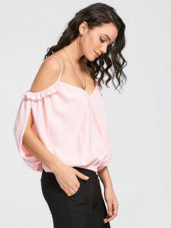 Schlitz Kalt Schulter Cami Rüschen Bluse - Pink L