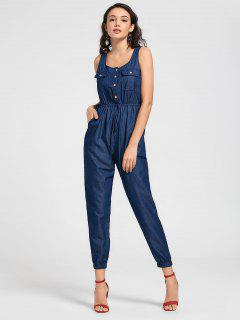 Drawstring Chambray Tank Shirt Jumpsuit - Cerulean Xl
