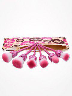 6Pcs Rose Designed Makeup Brushes Set With Floral Bag - Rose Red