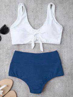 Knotted High Waisted Ruched Bikini Set - Blue M