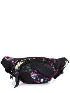 Floral Print Convertible Waist Bag - Black Purple
