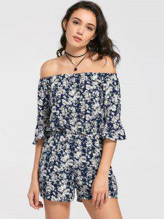 Floral Print Flare Sleeve Romper - Floral Xl