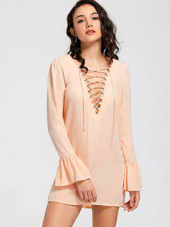 Flare Sleeve Lace Up Shift Dress - Orange M