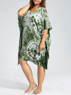 Batwing Sleeve Plus Size Cover Up Dress - Green