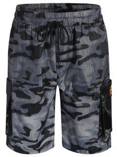 Camo Print Swim Cargo Board Shorts - Camouflage Gray 5xl