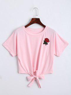 Bow Tied Floral Embroidered Cropped Top - Pink S