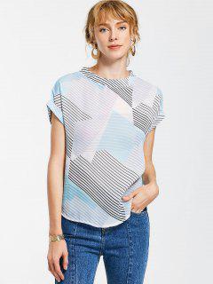 Blusa De Cuello Redondo Con Rayas - Multicolor L