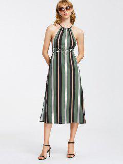 Strappy Stripes Backless Midi Dress - Stripe S
