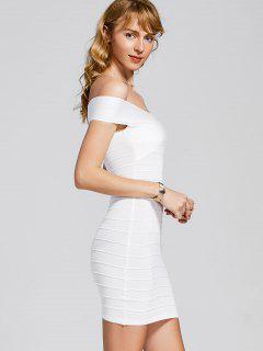 Vestido De Punto Con Tirantes De Hombro - Blanco