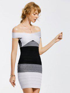 Tricoté Sur épaule Contraste Bodycon Dress - Multicouleur