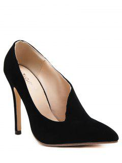 Stiletto Heel Pointed Toe V Shape Pumps - Black 37