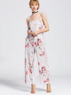 Drawstring Pockets Floral Cami Jumpsuit - Light Khaki Xl