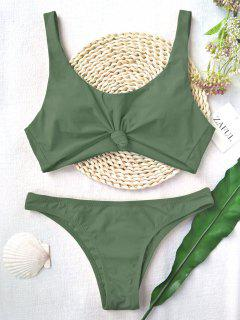Knotted Scoop High Cut Bathing Suit - Army Green M