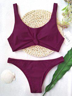 Knotted Scoop High Cut Bathing Suit - Purplish Red L