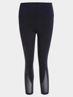 Mesh Panel Cropped Sports Leggings - Black S