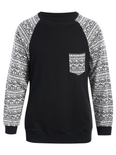 Front Pocket Printed Sweatshirt - Black S