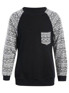 Front Pocket Printed Sweatshirt - Black S