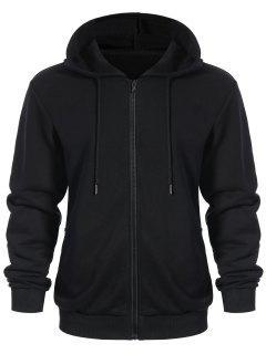 Pockets Zip Up Hoodie - Black 3xl