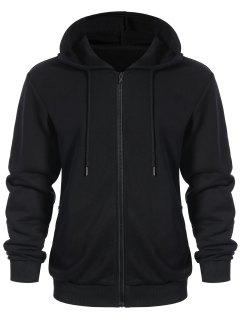 Pockets Zip Up Hoodie - Black Xl