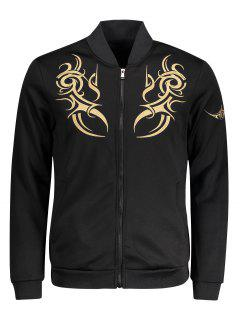 Zippered Embroidered Bomber Jacket - Black 2xl