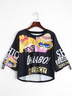 Cartoon Letter Print Drop Shoulder Tee - Black